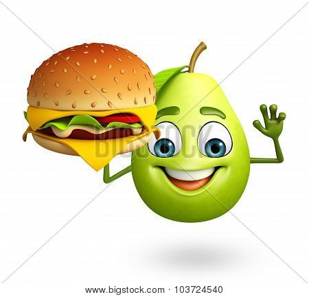 Cartoon Character Of Guava With Burger