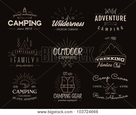 Set of retro badges and label logo graphics. Camping emblems and travel insignia. Vintage colors, ol