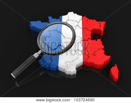 Map of France with loupe