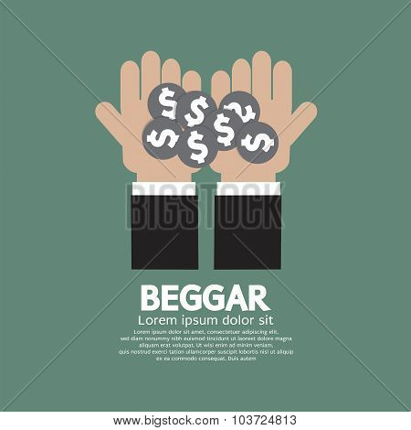 Coin Donated To The Beggar Vector Illustration.