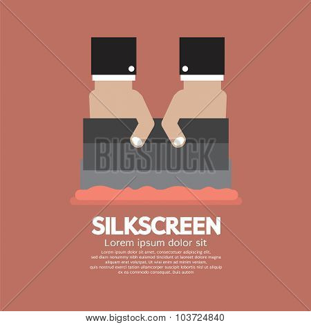 Worker Do Silkscreening Vector Illustration.