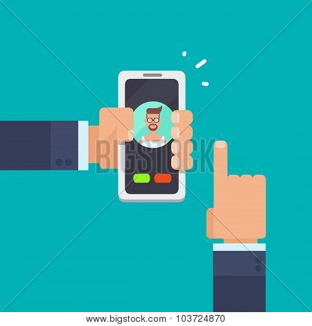 Hands holding a smartphone, calling a friend.
