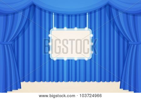 Vintage Stage with Blue Curtains and Marquee Sign Board