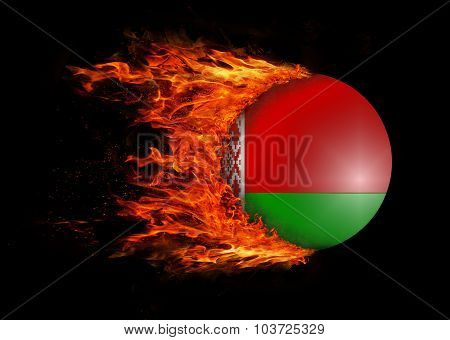 Flag With A Trail Of Fire - Belarus