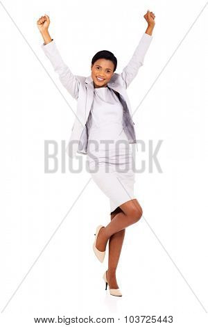 excited african businesswoman celebrating success isolated on white
