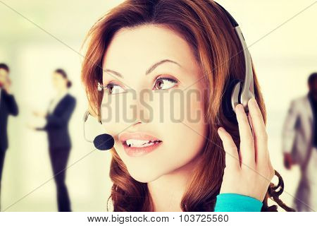 Call center woman close up portrait