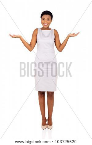 pretty african businesswoman making do not know sign on white background