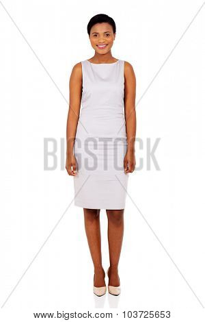 full length portrait of young afro american woman isolated on white