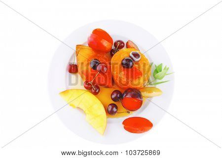 fruit ice cream with raw fruits on plate