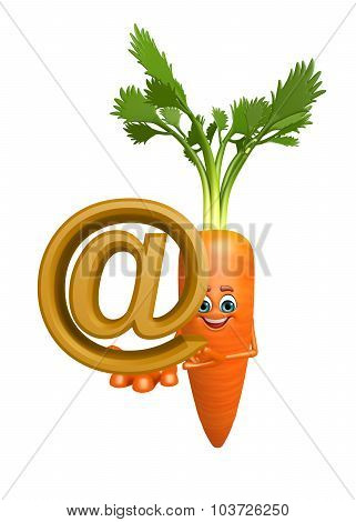 Cartoon Character Of  Carrot With At The Rate Sign