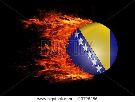 Flag With A Trail Of Fire - Bosnia