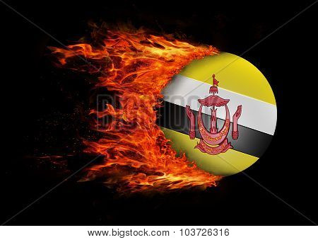 Flag With A Trail Of Fire - Brunei
