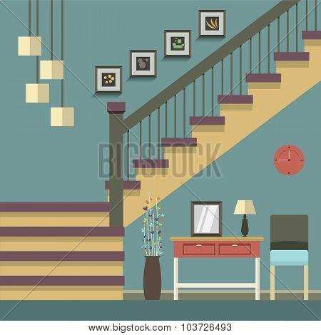Hallway Decoration Vector Illustration.