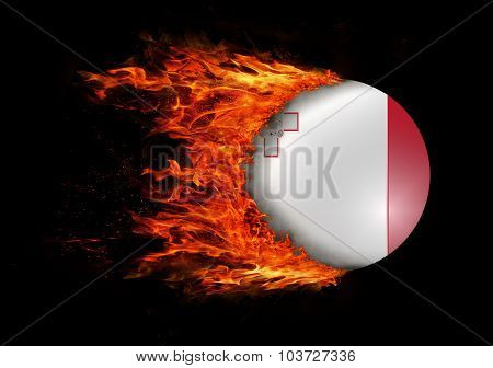 Flag With A Trail Of Fire - Malta