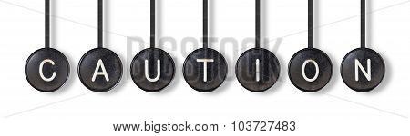 Typewriter Buttons, Isolated - Caution