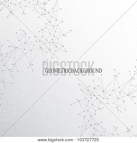 Graphic background molecule and communication. Connected lines with dots. Vector illustration