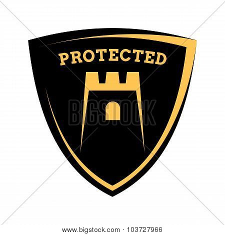 Shield Icon - Account Protected, Black And Yellow Template