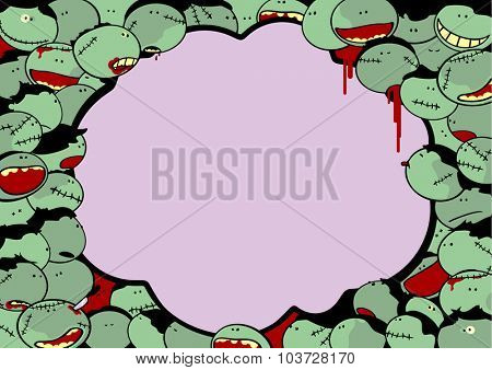 Cute Halloween card with a crowd of zombies and thought bubble window for your text