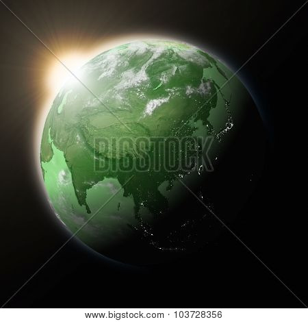 Sun Over Southeast Asia On Green Planet Earth