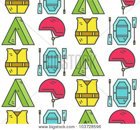 Rafting equipment seamless pattern. Outdoors style, thin line color design. Stylish elements for web
