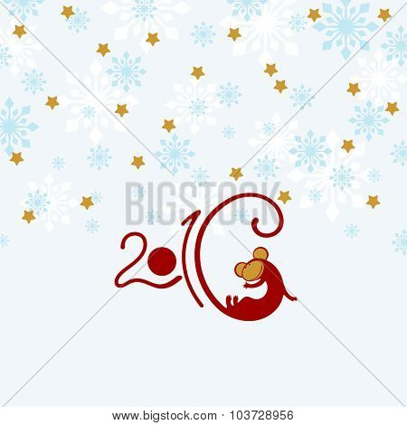 2016 New Year greeting card with it's symbol - red fire Monkey