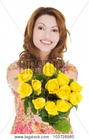 Happy woman giving bunch of roses.
