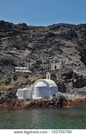 Church to hot volcanic springs,  Santorini, Thira Island,  Cyclades Islands