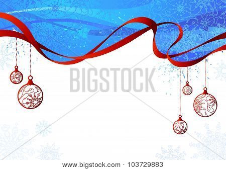 Blue And Red Christmas Background.