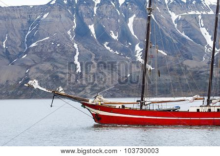 Ship Sailing In The Arctic Sea, Svalbard