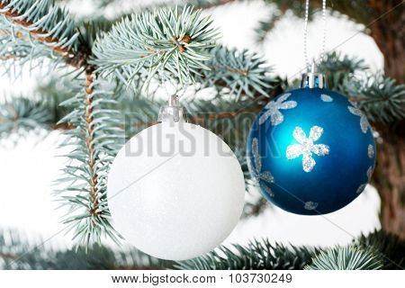 two christmas balls on a twig. Isolated on white.
