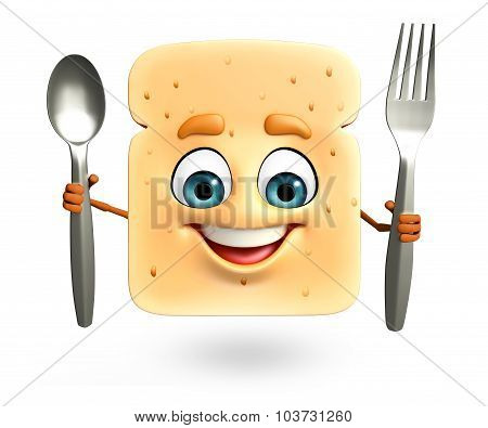 Cartoon Character Of Bread With Spoon