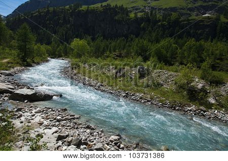 River in Rhemes Notre Dame valley, Aosta, Alps, Italy
