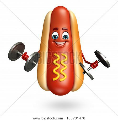Cartoon Character Of Hot Dog With Weights