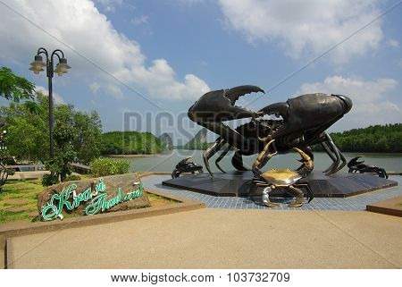 Krabi, Thailand - January 9, 2014: Statue Of Crabs In Krabi - Symbol Of Town