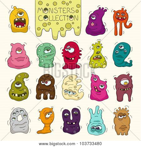 Set Of Cute Bright Monsters