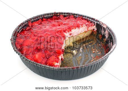 Strawberry Flan With Cut Pieces