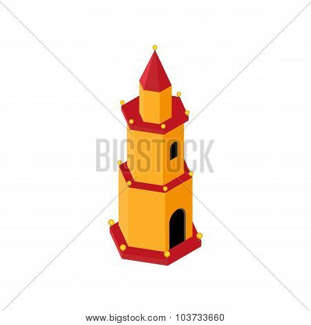 old lighthouse, with lamps on the perimeter on all floors in 3D isometric view of the style on a whi