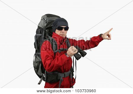 traveler with backpack red jacket with binoculars in hand on a white background specifies a finger i