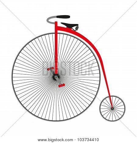 Penny farting bike. Retro bicycle. Vector illustration.