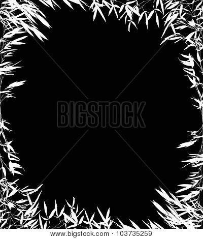 illustration with bamboo frame isolated on black background