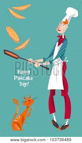 Happy Pancake Day! Cute Cook Boy Tosses Pancake In Frying Pan.