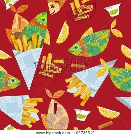 Fish And Chips. Seamless Background Pattern.