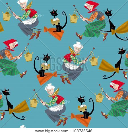 Elderly Women On Broomsticks With Cat And Kettle. Scandinavian Easter. Glad Pask! Seamless Backgroun