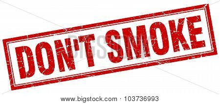 Don't Smoke Red Square Grunge Stamp On White