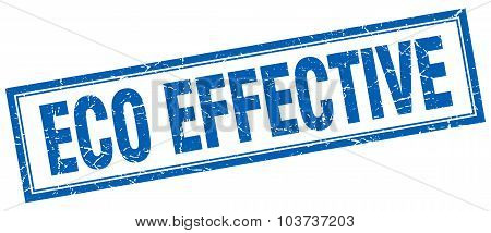 Eco Effective Blue Square Grunge Stamp On White