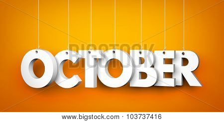 October word - suspended by ropes