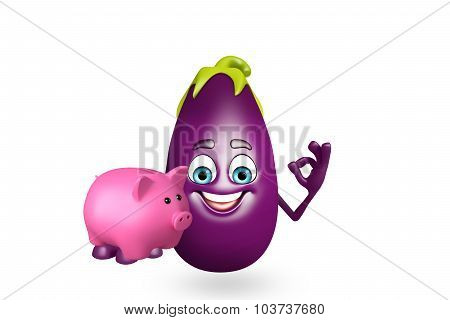 Cartoon Character Of  Brinjal Fruit With Piggy Bank