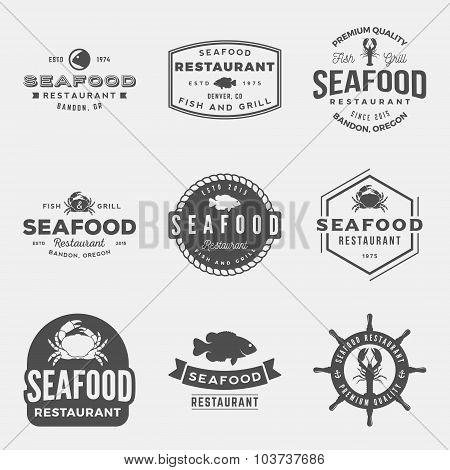 Vector Set Of Seafood Restaurant Vintage Badges, Emblems, Silhouettes And Design Elements.