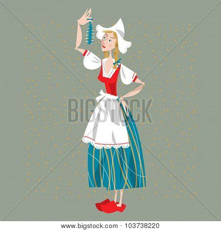 Dutch Woman Eating Soused Herring. Dutch Tradition.