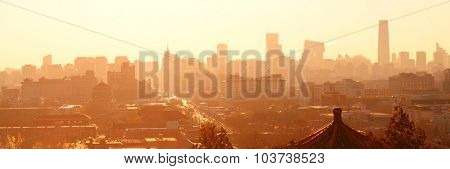 Beijing city skyline with urban architecture silhouette in the morning.